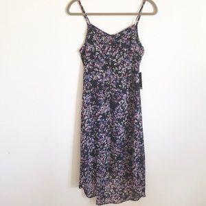 New Express Black Floral Slip Dress High Low XS